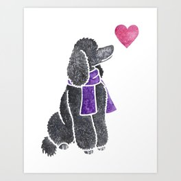 Watercolour Standard Poodle Art Print