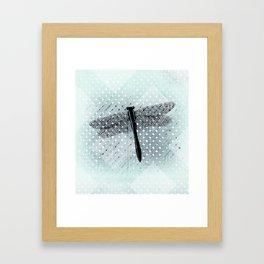 Boho Dragonfly on Light Turquoise Lattice Fence Pattern Framed Art Print