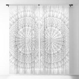 Light Grey White Mandala Sheer Curtain
