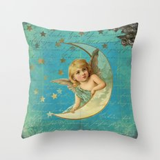 Vintage-Shabby-chic- Beautiful Christmas angel on aqua backround Throw Pillow