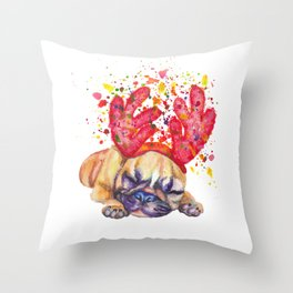 Boxer puppy with deer antlers Throw Pillow