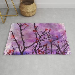 Dark Branches With Red Buds Watercolor Rug