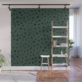 Cheetah Spots animal print minimal wild cat speckles and dots Forest Green Wall Mural