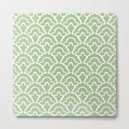 Fan Pattern Nile Green 113 Metal Print