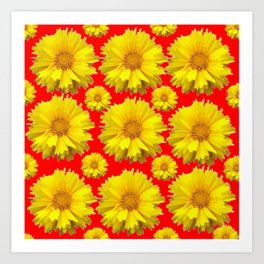"""YELLOW COREOPSIS """"TICK SEED"""" FLOWERS RED PATTERN Art Print"""