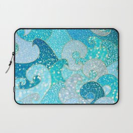Mermaid Waves And Sea Faux Glitter- Sun Light Over The Ocean Laptop Sleeve