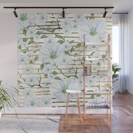 Elegant white faux gold stripes watercolor hand painted floral Wall Mural
