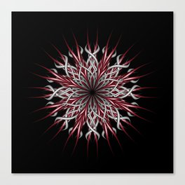 Mandala silver and red Canvas Print