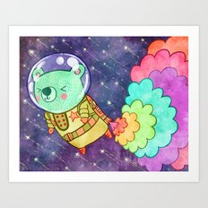 Flying to the Moon Bear Art Print