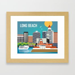 Long Beach, California - Skyline Illustration by Loose Petals Framed Art Print