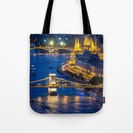 Budapest Night City Tote Bag