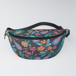 Asian-Inspired Peacock Feathers and Floral Pattern Fanny Pack