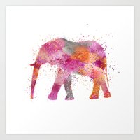 artsy Art Prints featuring Artsy Elephant by LebensART