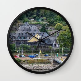 Germany Oberwesel Rhine River river Marinas Trees Houses Cities Pier Berth Rivers Building Wall Clock