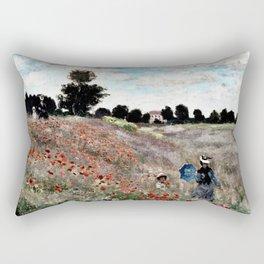 Claude Monet's Poppy Fields Rectangular Pillow