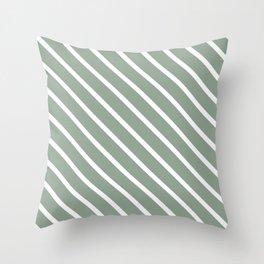 White Sage Diagonal Stripes Throw Pillow