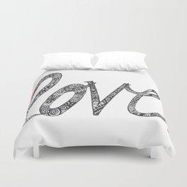 Love Zentangle  Duvet Cover