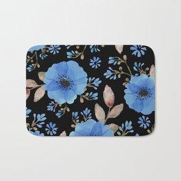 Blue flowers with black Bath Mat