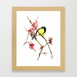 Great Tit and Spring Blossom, Yellow Pink Birds and Flowers Framed Art Print