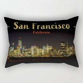 San Francisco Night Skyline (with Text) Rectangular Pillow