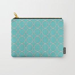 Turquoise Blue Quatrefoil Pattern Carry-All Pouch
