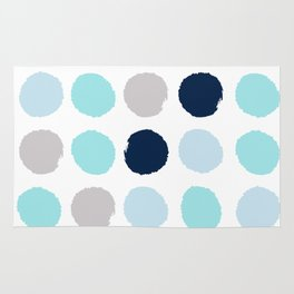 Minimal painted dot polkaed ot pattern blue navy indigo gender neutral nursery Rug