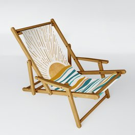 The Sun and The Sea - Gold and Teal Sling Chair