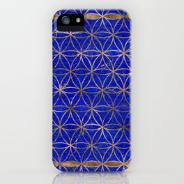 Flower of life pattern - Lapis Lazuli and Gold iPhone Case