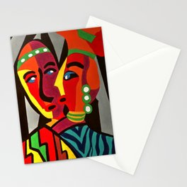 African Traditional Tribal Women Abstract Art Canvas Painting Series - 4 Stationery Cards