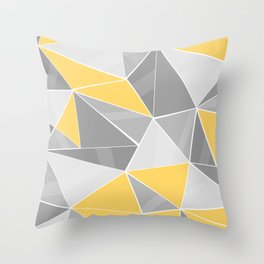 Pattern, grey - yellow Throw Pillow