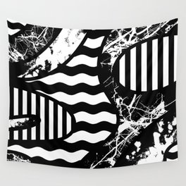 Curvy Contrast - Black and white stripes, waves, marble and paint splats abstract artwork Wall Tapestry