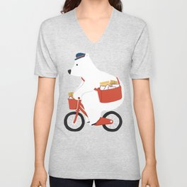 Polar bear postal express Unisex V-Neck