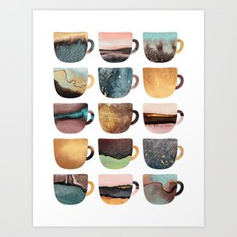 Earthy Coffee Cups Art Print