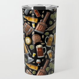 Beer Makes The World Go Round - Black Pattern Travel Mug