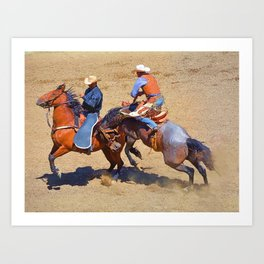 The Saddle Bronc and the Pickup Man - Rodeo Art Art Print