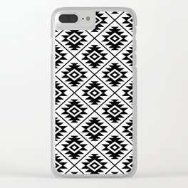 Aztec Symbol Pattern Black on White Clear iPhone Case