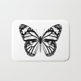 Monarch Butterfly | Black and White Bath Mat
