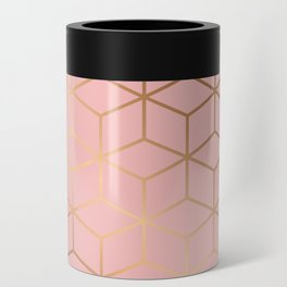 Pink and Gold Geometry 011 Can Cooler