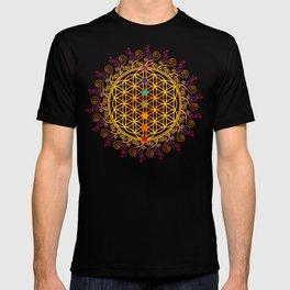 FLOWER OF LIFE, CHAKRAS, SPIRITUALITY, YOGA, ZEN, T-shirt