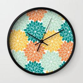 Petals in Orange, Mint, Apricot and Jade Wall Clock