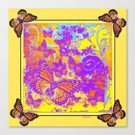 Purple Monarch  Butterflies  Surrealism Yellow Art Canvas Print