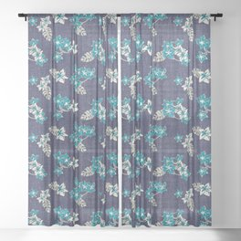 Frangipani Indigo Sheer Curtain