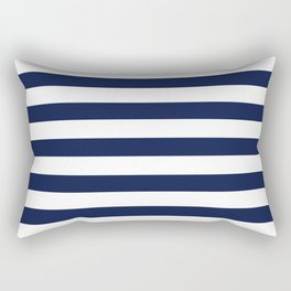 Nautical Navy Blue and White Stripes Rectangular Pillow