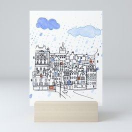 Edinburgh in the Rain Mini Art Print