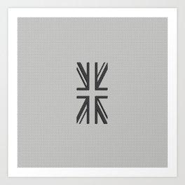 UK Flag Union Jack in Carbon Fiber White with Black Art Print