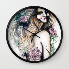 Flower Girl // Fashion Illustration Wall Clock