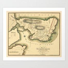 Map Of Boston 1818 Art Print