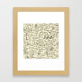 Physics Equations // Parchment Framed Art Print