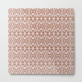 Geometric Art, Aztec Prints, Terracotta, Wall Art Boho Metal Print