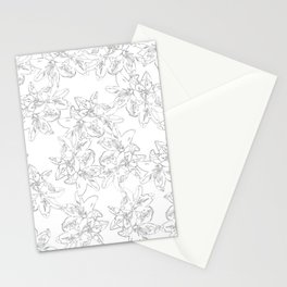 black and white line art flowers Stationery Cards